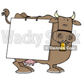 Brown Dairy Cow With a Blank White Sign on it Clipart Illustration © Dennis Cox #10810
