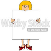Blond Woman in Heels, Standing Behind and Holding a Blank White Sign Clipart Illustration © Dennis Cox #10811