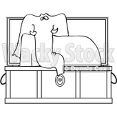Clipart Outlined Elephant Rising In A Coffin - Royalty Free Vector Illustration © djart #1081323