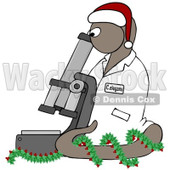 Clipart BrownChristmas C Elegans Roundworm With A Santa Hat And Holly Wreath And Microscope - Royalty Free Illustration  © Dennis Cox #1082253