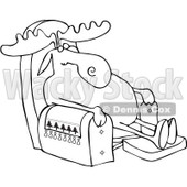Clipart Outlined Moose Sleeping In A Recliner Chair - Royalty Free Vector Illustration © djart #1082255