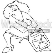 Clipart Outlined Woman Lugging A Heavy Gas Can - Royalty Free Vector Illustration © djart #1082258