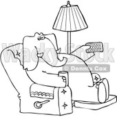 Clipart Outlined Elephant Holding A Tv Remote And Drink In A Recliner - Royalty Free Vector Illustration © djart #1082259