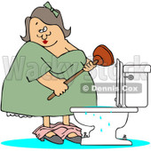 Clipart Woman With A Plunger Over A Clogged Toilet - Royalty Free Vector Illustration © djart #1082263