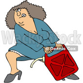 Clipart Woman Lugging A Heavy Gas Can - Royalty Free Vector Illustration © Dennis Cox #1082264