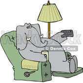 Clipart Elephant Holding A Tv Remote And Drink In A Recliner - Royalty Free Vector Illustration © Dennis Cox #1082265