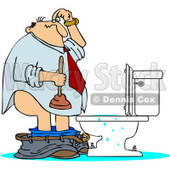 Clipart Man With A Plunger Over A Clogged Toilet - Royalty Free Vector Illustration © djart #1082267