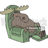 Clipart Moose Sleeping In A Recliner Chair - Royalty Free Vector Illustration © djart #1082268