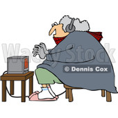 Clipart Cold Woman Wearing Bunny Slippers And Muffs By A Space Heater - Royalty Free Vector Illustration © djart #1082535