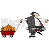 Clipart Vampire Pulling Halloween Pumpkins An A Wagon - Royalty Free Illustration © Dennis Cox #1082566