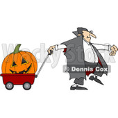 Clipart Vampire Pulling A Large Halloween Pumpkin An A Wagon - Royalty Free Vector Illustration © Dennis Cox #1082567