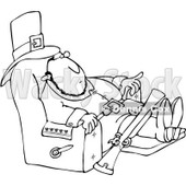 Clipart Outlined Thanksgiving Pilgrim Relaxing In A Recliner - Royalty Free Vector Illustration © djart #1082569