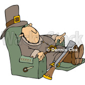 Clipart Thanksgiving Pilgrim Relaxing In A Recliner - Royalty Free Vector Illustration © djart #1082570