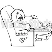 Clipart Outlined Bear Relaxing In A Recliner Chair - Royalty Free Vector Illustration © Dennis Cox #1082829