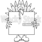 Clipart Outlined Turkey Holding A Thanksgiving Sign - Royalty Free Vector Illustration © djart #1083580
