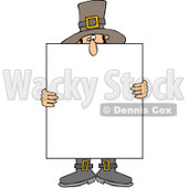 Clipart Pilgrim Holding A Thanksgiving Sign - Royalty Free Vector Illustration © Dennis Cox #1083581