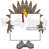 Clipart Turkey Holding A Thanksgiving Sign - Royalty Free Vector Illustration © djart #1083582