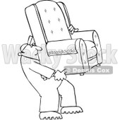 Clipart Outlined Furniture Repo Or Delivery Man Carrying A Chair - Royalty Free Vector Illustration © djart #1084437