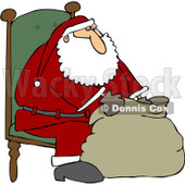 Clipart Santa Sitting In A Chair And Looking Into His Bag - Royalty Free Vector Illustration © djart #1084444