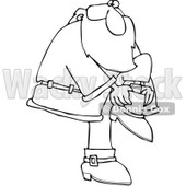 Clipart Outlined Santa Putting His Boots On - Royalty Free Vector Illustration © djart #1084848
