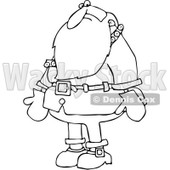 Clipart Outlined Santa Nervously Looking Down - Royalty Free Vector Illustration © djart #1084851
