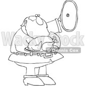 Clipart Outlined Santa Presenting A Roasted Turkey - Royalty Free Vector Illustration © djart #1084853