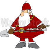 Clipart Santa Carrying A Shovel - Royalty Free Vector Illustration © Dennis Cox #1084855