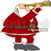 Clipart Santa Viewing Through A Scope - Royalty Free Vector Illustration © djart #1084856