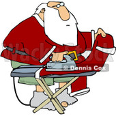Clipart Santa Ironing His Pants - Royalty Free Vector Illustration © Dennis Cox #1084860