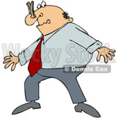 Clipart Businessman Wearing A Clothespin On His Nose Due To Smell - Royalty Free Vector Illustration © djart #1084861