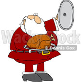 Clipart Santa Presenting A Roasted Turkey - Royalty Free Vector Illustration © Dennis Cox #1084862