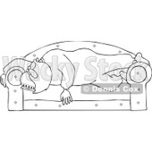 Clipart Outlined Santa Sleeping On A Couch - Royalty Free Vector Illustration © djart #1086599