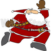 Clipart Santa Running - Royalty Free Vector Illustration © djart #1086602