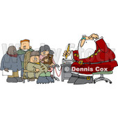 Clipart Group Of Kids Waiting For Santas Lie Detector Test - Royalty Free Vector Illustration © Dennis Cox #1086874