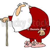 Clipart Surprised Santa With A Cane And Pink Bunny Slippers - Royalty Free Vector Illustration © djart #1086875