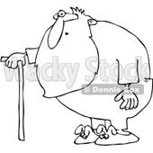 Clipart Outlined Surprised Santa With A Cane And Bunny Slippers - Royalty Free Vector Illustration © djart #1086876