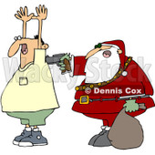 Clipart Santa Robbing A Man - Royalty Free Vector Illustration © Dennis Cox #1087104