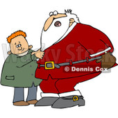 Clipart Boy Pulling Santas Beard - Royalty Free Vector Illustration © Dennis Cox #1087105