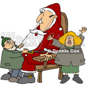 Clipart Kids Pulling On A Fake Santas Beard - Royalty Free Vector Illustration © djart #1087106
