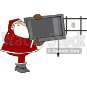 Clipart Santa Installing A Wall Mount Tv - Royalty Free Vector Illustration © djart #1087107