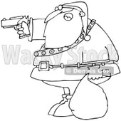 Clipart Outlined Santa Aiming A Gun - Royalty Free Vector Illustration © djart #1087109