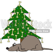 Clipart Dog Under A Christmas Tree Decorated With Bones - Royalty Free Vector Illustration © djart #1087452