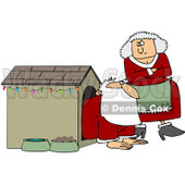 Clipart Mrs Clause Tapping Her Foot And Staring At Santa In A Dog House - Royalty Free Vector Illustration © djart #1087728