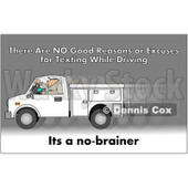 Clipart Worker Texting And Driving A Truck With A Safety Warning - Royalty Free Illustration © djart #1087729