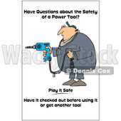 Clipart Worker With A Taped Drill Cord With A Safety Warning - Royalty Free Illustration © Dennis Cox #1087730