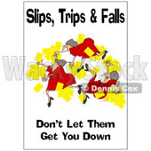 Clipart Woman Slipping With A Safety Warning - Royalty Free Illustration © Dennis Cox #1087732