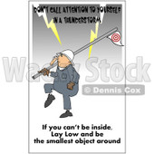 Clipart Worker Carrying A Flag Pole In A Lightning Storm With A Safety Warning - Royalty Free Illustration © Dennis Cox #1087735