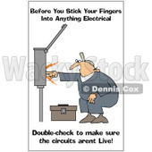 Clipart Electrician With A Safety Warning - Royalty Free Illustration © djart #1087736