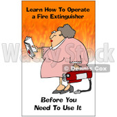 Clipart Woman Holding A Fire Extinguisher With A Safety Warning - Royalty Free Illustration © Dennis Cox #1087737