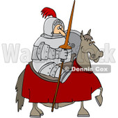 Clipart Jousting Knight Holding His Lance On His Horse - Royalty Free Vector Illustration © Dennis Cox #1088031